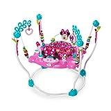 Bright Starts, Disney Baby Saltador y Centro de actividades Minnie con luces y música, asiento giratorio, 4 alturas regulables, 12 juguetes interactivos, a partir de 6 meses