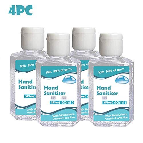 Kitt Hand Sanitizer Travel Size, Instant Hand Sanitizer,Refreshing Washless Hand Soap Gel,Light Moisturizing,Non-irritating,60ml / 2 Fl Oz (60ML,4PC)