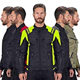 Viking Cycle Ironborn Protective Textile Motorcycle Jacket for Men - Waterproof, Breathable, CE Approved Armor for Bikers (Green, Medium)
