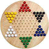 Brybelly Wooden Chinese Checkers   Made with All Natural Wooden Materials   Includes 60 Wooden Marbles in 6 Colors   All Ages Classic Strategy Game for Up to Six Players