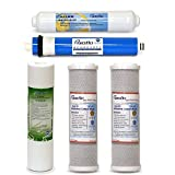 5 pc RO Water Filter Replacement Set, 5-Stage 1-Year, Reverse Osmosis Under-Sink Drinking System Filtration Kit by PUROFLO
