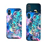 Case for iPhone X,iPhone Xs Wallet Card Holder Slot Sliding Cover Hybrid Dual Layer Protective Hard PC TPU Inner Rubber Back Card Slot Cover for iPhone Xs/X /10 5.8 inch (Mandala Galaxy)