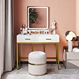 Tiptiper Vanity Table with Lighted Mirror, Makeup Table with LED Lights in 3 Colors, Modern Vanity Desk Dressing Table with 2 Drawers, Gold and White