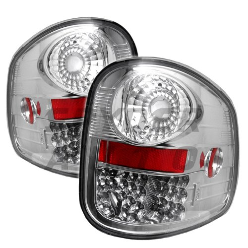 Aftermarket Replacement Euro LED Style Tail Light for Ford F150 Flareside 97-00 - Chrome Clear