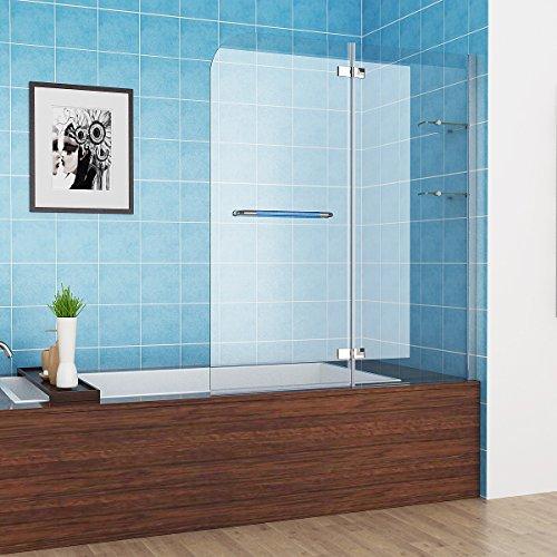 MIQU 100-120 x 140 cm Badewannen 2 TLG. Faltwand Aufsatz 180° Duschwand Duschabtrennung Nano Glas mit Handtuchhalter (120cm)