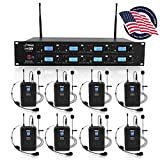 Pyle Professional 8 Channel UHF Wireless Microphone & Receiver System 8 Belt Pack Transmitters 8 Headsets & 8 Lavalier Lapel Mics RF & AF Radio/Audio Frequency Digital Display (PDWM8275)