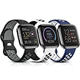 Witzon Sport Bands Compatible with Fitbit Versa 2 / Versa / Versa Lite for Women Men, Breathable Silicone Replacement Wristbands for Versa 2 Smartwatch, Large, Black-Gray/White-Black/Blue-White