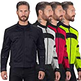 Viking Cycle Ironside Textile Mesh Motorcycle Jacket for Men - Waterproof, CE Approved Breathable Armor for Bikers (Black, 3XL)