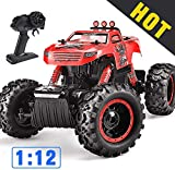 Remote Control Trucks Monster RC Car 1: 12 Scale Off Road Vehicle 2.4Ghz Radio Remote Control Car 4WD High Speed Racing All Terrain Climbing Car Toys Car Gift for Boys Red