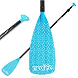 wonitago SUP Paddles with Alloy Shaft and Nylon Blade, Floating Paddleboard Oars, Adjustable 170-210 cm/67-83 Inches, Teal