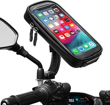 "ENONEO Soporte Movil Moto Impermeable 360° Rotación Soporte Telefono Motocicleta con Cubierta de Lluvia Funda Soporte Smartphone Moto Retrovisor para Telefono hasta 6.7"" Pulgada (Negro 1)"