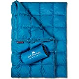 Get Out Gear Double Puffy Camping Blanket - Extra Puffy, Packable, Lightweight and Warm | Ideal for Outdoors, Travel, Stadium, Festivals, Beach, Hammock | Water-Resistant Camp Quilt (Teal Blue/Gray)