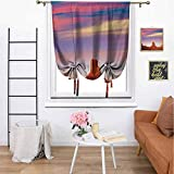 United States Bedroom Curtain Tie Up Curtain, Monument Valley West Mitten and Merrick Butte Sunset Utah Desert Room Darkening Thermal Insulated for Living Room,48' x 72' Dark Orange Pink Blue