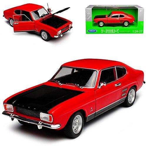 Welly Ford Capri RS I Coup rosso con cofano nero di prima generazione 1968-1973 1/24 modello Auto