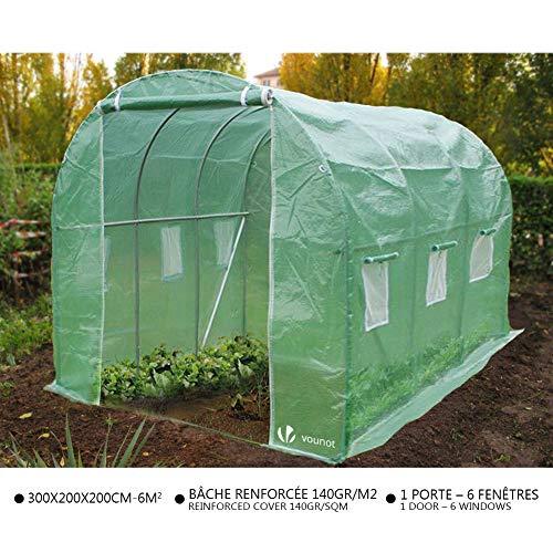 VOUNOT Gewächshaus Foliengewächshaus Winterfest Tomatenhaus Folientunnel, 3x2x2m 6m²