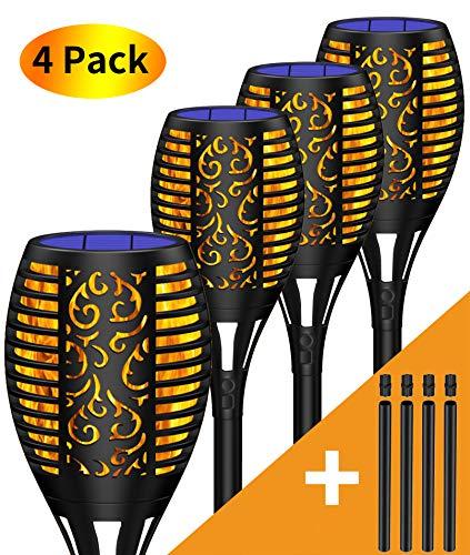 Marlrin Garten Fackeln Solarleuchte Solar Fackel Garten Solar Flamme Lampe Fackel Solar Gartenlicht Auto EIN/Aus USB Wiederaufladbar (Licht Sensor) und IP65 Wasserdicht für Außen,Garten (4 Stück)