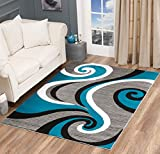 Glory Rugs Modern Area Rug Swirls Carpet Bedroom Living Room Contemporary Dining Accent Sevilla Collection 4817 (4x6, Turquoise)