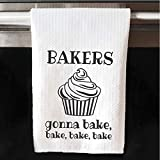 Bakers Gonna Bake Bake Bake Bake White Waffle Towel | Funny Joke | Song Lyrics | Kitchen Decor
