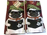 Ritz Fall Harvest Dog Pug Kitchen Dish Towel 2 pk. Set