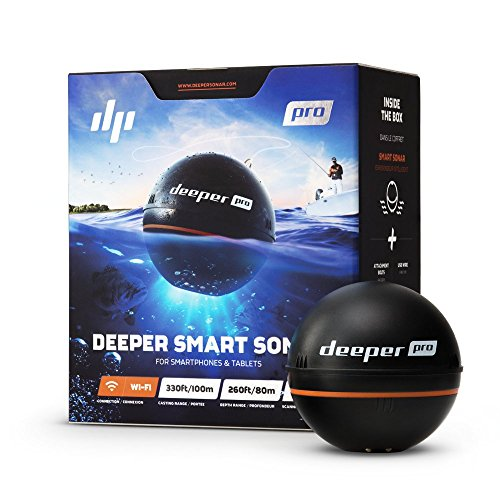 Deeper Sonar Wi-Fi Fishfinder Pro, Ecoscandaglio Portatile per Smartphone Iphone/Android E Tablet Ipad/Android - Rilevazione Profondit Fino a 80 Metri, Nero
