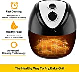Electric Air Fryer, 120V 5.6Quart 1800W Air Oven Non-Stick, Fast Healthy Food Oil-Less Cooker Low Fat Easy Cleaning, Air Deep Fryer Cooker with Metal Holder +Shelf +Food Clip, US Plug (Black)