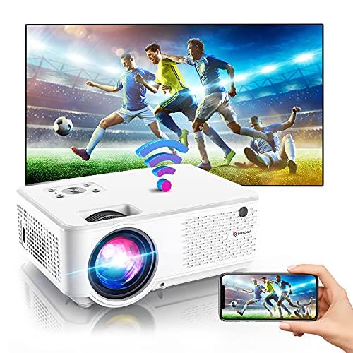 BOMAKER Mini Beamer, 7000 WiFi Beamer, 1280P Full HD Support, mit 300'' Display 90.000 Stunden, kompatibel mit PS4 / TV-Stick/ Smartphone Gaming und Filmen Projektor für draußen/ Heimkino-C9