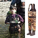 NEYGU Children's 5MM Neoprene Thermal and Waterproof Chest Wader with Rubber Boots,Keep Child Warm Under -31 ℉,Maple Leaf Style (8-9T)