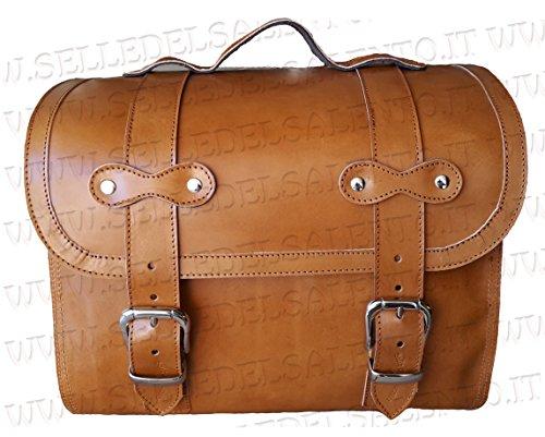 Bauletto borsone borsa Vespa Lambretta portapacchi vera pelle col cuoio valigia moto custom