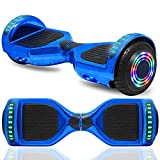 Hoverboard Electric Self Balancing Scooter 6.5' Wheel with Built in Bluetooth Speaker LED Side Lights Kids Gift Safety Certified (Chrome Blue)