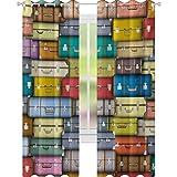 YUAZHOQI - Cortina de ventana oscura moderna con fondo para maletas, diseño vintage, para viajes, vacaciones, diseño artístico, 132 x 274 cm, para sala de estar, multicolor