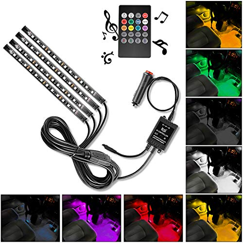 Nilight 4PCS 48 LED Interior Lights DC 12V Multicolor Music Car Strip Light Under Dash Lighting Kit with Sound Active Function and Wireless Remote Control, 2 Years Warranty