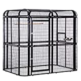 Walcut Heavy Duty Large Bird Cage Walk in Aviary Pet House for Parrot Cockatiel Macaw Finch