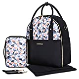 mommore Fully Opened Baby Diaper Bag Black Travel Backpack with Portable Insulated Bag for Pregnant Wife