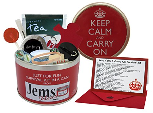 Keep Calm & Carry On Survival Kit In A Can. Humorous Novelty Fun Gift - Present & Card All In One. Birthday/Christmas/Retirement/Boss/Work Colleague/Good Luck/Leaving/Mum To Be/Dad To Be/New Baby/New Parents/Father\'s Day/Mother\'s Day/Valentine\'s Day/Graduation/New Home/Engagement/Wedding/New Job/Best Man/Bridesmaid/Anniversary. by Survival Kit In A Can