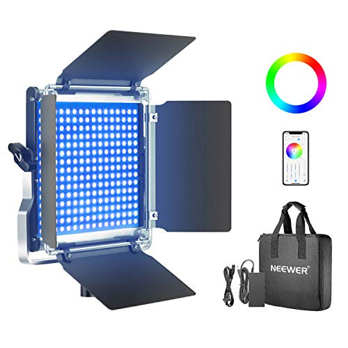Neewer 480 RGB Led Light with APP Control, 480 SMD LEDs CRI95/3200K-5600K/Brightness 0-100%/0-360 Adjustable Colors/9 Applicable Scenes with LCD Screen/U Bracket/Barndoor, Metal Shell for Photography