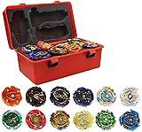 3T6B 12 Piezas Peonzas Juguetes Conjunto con Estuche Portátil, Gyro Spinner con 2 Burst Turbo Launcher Set, con Pocket Box, Regalo Mejor para los Niños (Rojo)