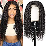 Allove Hair Brazlian Deep Wave Lace Front Wig Human Hair With Baby Hair Pre Plucked 13x4 150% Density 10A Wet and Wavy wig Glueless Unprocessed Remy Human Hair Wigs For Women Natural Color (18inch)