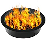 Fire Pit Ring 45-Inch Outer/39-Inch Inner Diameter Heavy Duty 3mm Metal Steel Rim - DIY Fire Pit Rim Above or In-Ground for Camping Outdoors, Backyard (45 x 39 x 10 Inch)