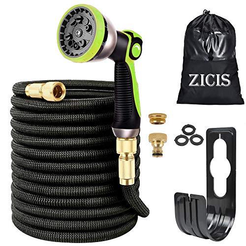 ZICIS 30M Flexibler Gartenschlauch, 8 Funktion Garten Handbrause, Wandhalterung, Zwei Adapter Wasserhahn,Gartenschlauch Schnellkupplung