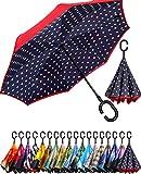 BAGAIL Double Layer Inverted Umbrella Reverse Folding Umbrellas Windproof UV Protection Big Straight...