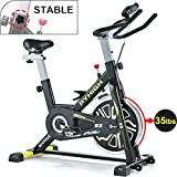 PYHIGHIndoor Cycling Bike Belt Drive Stationary Bicycle ExerciseBikes with LCD Monitor for Home Cardio Workout BikeTraining- Black.