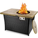TACKLIFE 50,000 BTU Propane Gas Fire Pit Table, Steel Imitation Wood Grain Surface with Weather-Resistant Lid & Lava Rock, ETL Certification, Pure Artificial Rattan Design, 41in Fireplace for Outdoor