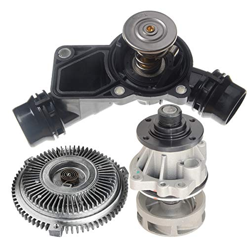 A-Premium Water Pump With Gasket with Fan Clutch with Thermostat with Housing Replacement for BMW E39 E46 320i 325Ci 328ci 330ci 528i 530i X3 3-PC