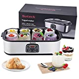 Yogurt Maker Automatic Digital Yoghurt Maker Machine with 8 Glass Jars 48 Ozs (6Oz Each Jar) LCD Display with Constant Temperature Control Stainless Steel Design for Home Use