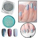 Iulove Mirror Holographic Nail Art Glitter Powder Rainbow Chrome Pigment Polish