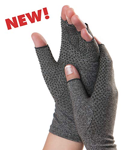 Dr. Frederick's Original Grippy Arthritis Gloves for Women & Men - Anti-Slip Compression Gloves for Arthritis Pain Relief - Rheumatoid & Osteoarthritis - Large