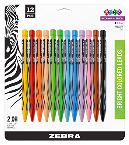 Zebra Cadoozles Starters Colored Mechanical Pencil, 2.0mm Point Size, Assorted Colors, 12-Count