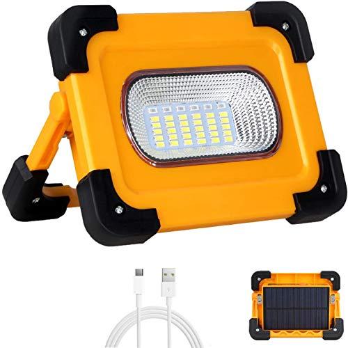Faro Luce LED Portatile 60W, T-SUN Proiettore Ricaricabile con Cavo USB LED Esterni 9000mAh con Batteria Ricaricabile Integrata, Lavoro Luce da Campeggio Lamp Porta USB e modalit SOS.