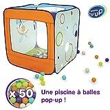 LUDI - Piscine à balles en tissu et structure pop-up 90 x 90 x 90 cm. Dès 2...