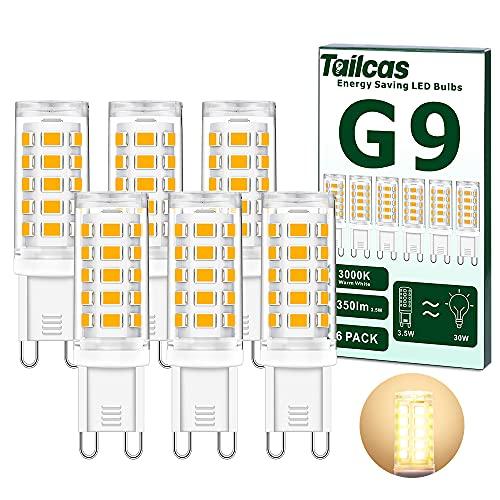 G9 LED Lampadina, 3.5W Equivalenti 30W 40W Lampada Alogena, Bianco Caldo 3000K Lampade LED G9 350LM, AC220-240V, Non Dimmerabile, Nessun Sfarfallio, 6 pezzi